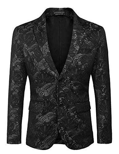 COOFANDY Mens Floral Tuxedo Jacket Slim Fit Luxury Blazer Wedding Party Prom Dinner Suit Jacket