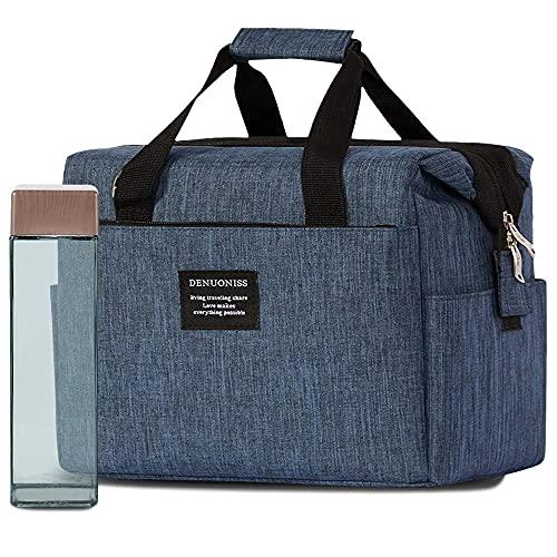 XIKUO - Elegante bolsa de almuerzo reutilizable con aislamiento para trabajar con botella cuadrada en una exclusiva caja de regalo de papel kraft ecológico - Textil impermeable azul Oxford - Sin BPA