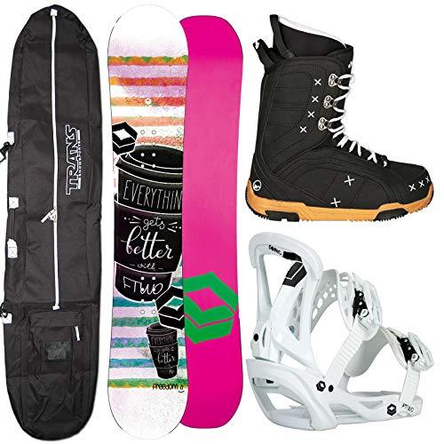 Ftwo Damen Snowboard Freedom + Sonic BINDUNG GR. M + Boots + Bag (143 cm)