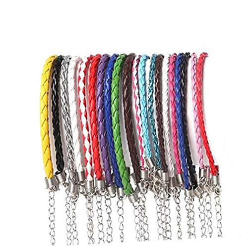 Cuerda de Cuero,50 Piezas Cordón de Algodón Encerado Encerado Algodón Collar con Broche de Langosta y Cadena para Hacer Pulseras de Collar Fabricación de Joyas