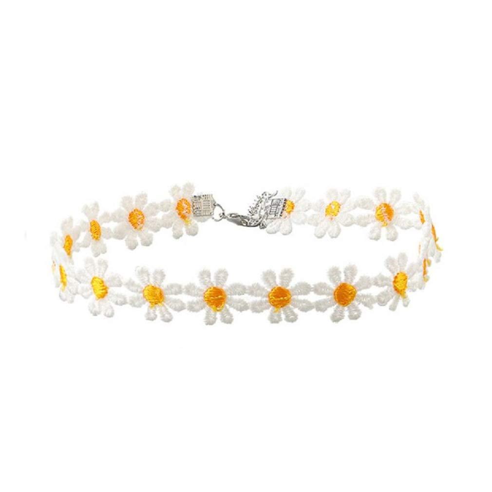 Delicate Daisy Flower Lace Choker Chain Necklace (Orange)