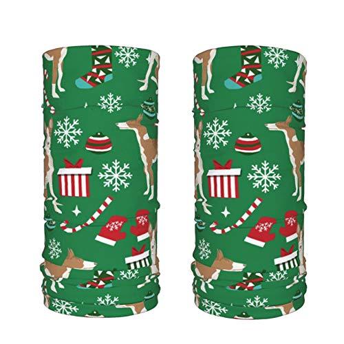 Dyfcnaiehrgrf Ibizan Hound Weihnachten – Grün, 2 Stück, stilvoll, kühlend, Halstuch, Gesichtsmaske, Staubschutz, Sport-Sturmhaube, feuchtigkeitsableitende Frauen