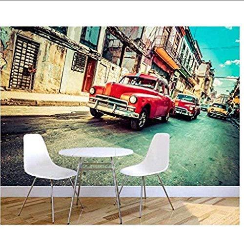 Tony plate 3D fototapete Plakate Bilder Fototapete Wohnzimmer Wandmalerei Retro Altes Auto Havanna Straßenmalerei TV fototapete für Wand 3D Hintergrundbild-200cmx140cm(LxH)