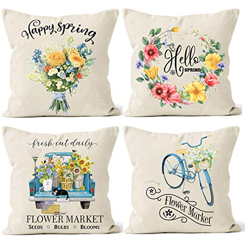 Spring Pillow Covers 18x18 Farmhouse Decorative Spring Decorations for Home Throw Pillows Cases Set of 4 Outdoor Decor Holiday Rustic Fresh Flowers Wreath Bicycle Truck Seasonal Cushion Covers