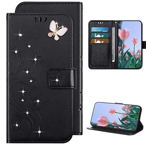 Kompatibel mit Samsung Galaxy S20 Hülle Leder Tasche Flip Case Glitzer Bling Diamant Brieftasche Schutzhülle,Schmetterling Blume Muster Klapphülle Handyhülle mit Kartenfächer,Schwarz