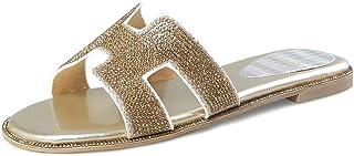 BalaMasa Womens Studded Comfort Casual Leather Slides Sandals ASL05714