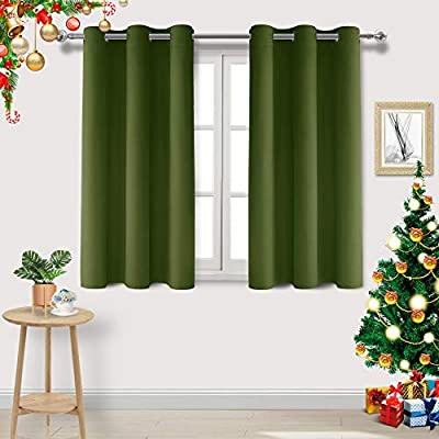 DWCN Blackout Curtains Thermal Insulated Room Darkening Grommet Window Treatment Solid Block Light Curtain Drapes for Bedroom Living Room 42 x 54 Inch Length, 2 Thick Olive Green Panels