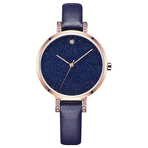 Hkjhyj Quartz Horloge Mode Lederen Band met Diamond Mineral Gehard Glas Spiegel Waterdicht Horloge voor Vrouwen