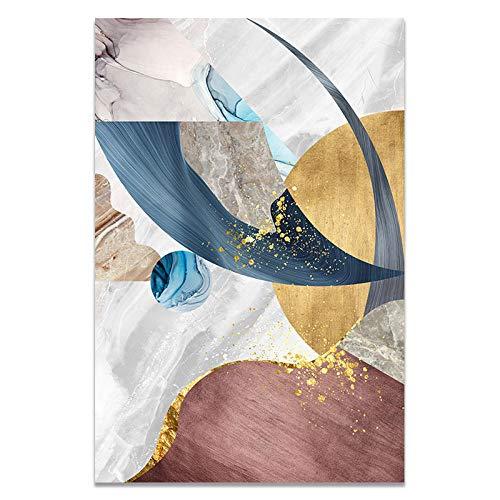 U/N Póster Abstracto de Bloques de Color Dorado con patrón geométrico Moderno, Impresiones artísticas en Lienzo, Cuadros de Pared para la Pintura de la Sala de Estar-4