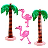 Aneco 4 Pack Jumbo Inflatable Palm Trees Flamingos Toys for Luau Party Décor Beach Backdrop