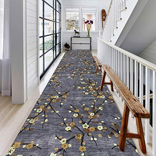 Luxurious European-style Flower Design Heavy Duty Runner, Easy to Clean Colourfast Vintage Floral Area Rug Runner, Floorcover Indoor Mat (Color : B, Size : 120×300cm)