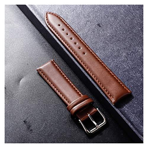 Duradero 12 14 16 18 20 21 22mm de cuero genuino reloj de reloj de reloj de reloj de reloj de reloj de reloj de reloj con color plata hebilla de acero inoxidable Herramienta de correa de reloj
