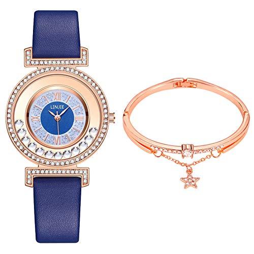 LEEDY Damen Mode Quarzuhr Uhrenset Quarz Uhrenset Schick Bequem und Langlebig zu Tragen, Armband und eine Uhr