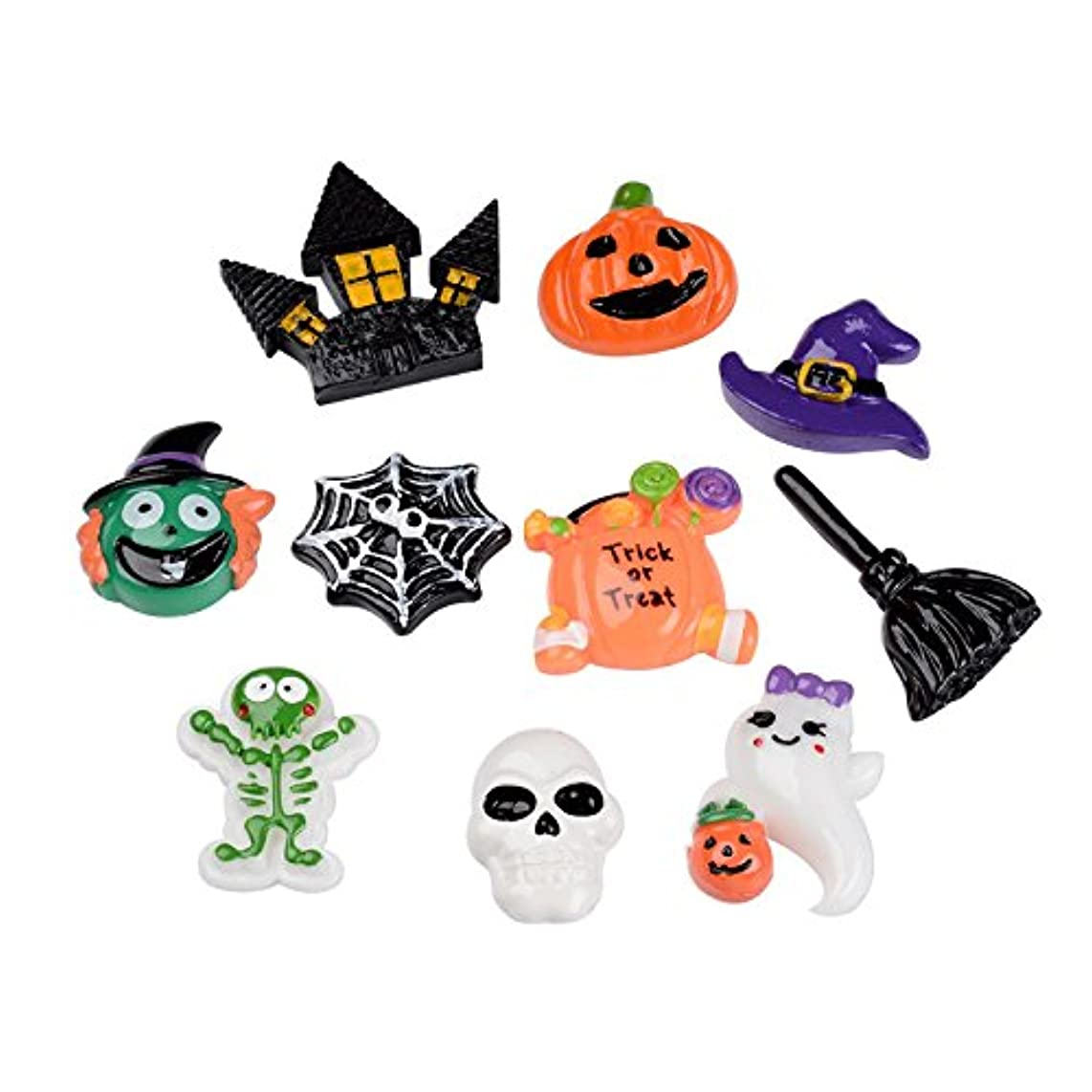 Pandahall 10 PCS Halloween Theme Resin Cabochons for Craft Making, Pumpkin Jack-o'-lantern, Witch Hat, Skull, Witch Besom, Skeleton, Ghost, Castle, Spider Web, Witch Head