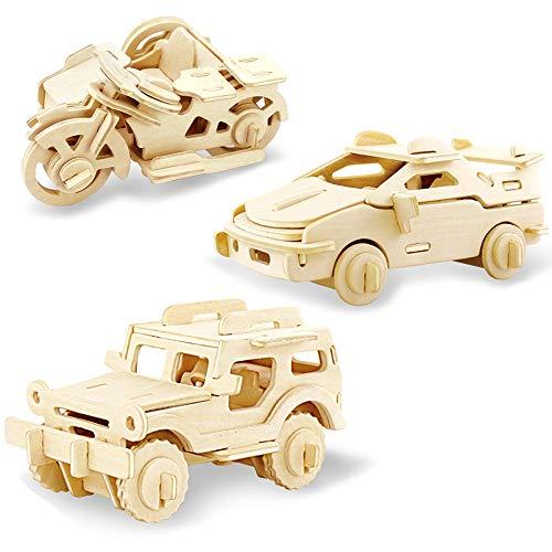 Georgie Porgy Hölzerne 3D Puzzle Sammlung Puzzle Modell Kit Baukasten Holzhandwerk Kinder Puzzle Pädagogisches Spielzeug DIY Geschenk Alter 5+ Packung 3 (Jeep Ferrari Motor Dreirad)