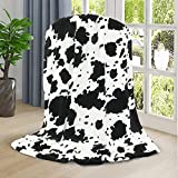 Wish Tree Cow Blanket, Black and White Cow Print Throw Blankets, Lightweight Fleece Blanket with Cow Print for Couch ,Sofa. 50x60 inch, Western Decor for Bedroom. Cow Gift for Birthday, Christmas.