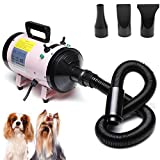 2800W Dog Cat Pet Hairdryer Grooming Adjustable Wind Speed Temperature Setting Blaster Blower Coat Fur with 3 Different Nozzles, 2 Year Warranty