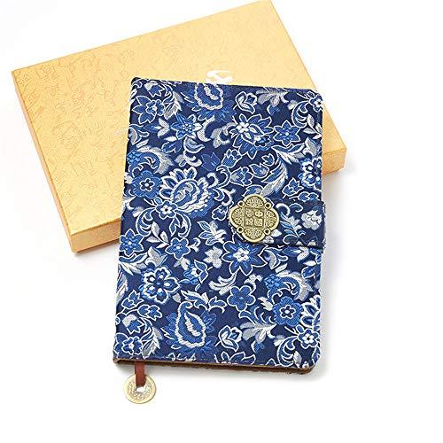 Klasyczny chiński brokatowy niebieski i złoty notatnik z kwiatami A5 - vintage dziennik podróżny w stylu vintage 2019 2020 - dziennik szkolny artykuły papiernicze - prezenty z okazji ukończenia szkoły