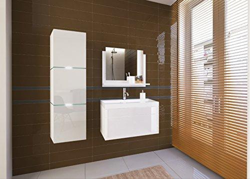 Home Direct LORENT, Moderne Badschränke, Bademöbel, mit Waschbecken (Weiß MAT Base/Weiß HG Front, Möbel)