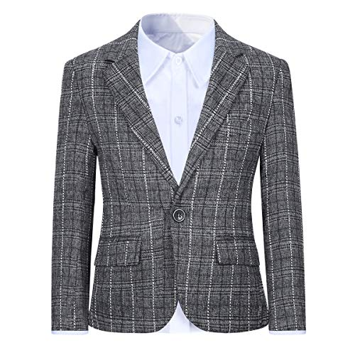 Boys Plaid Blazer Jacket Formal Dress Check Black Gray Brown for Wedding