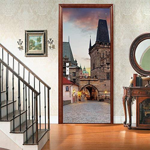 suelo Puerta Pegatina 3d Pared Puerta Pegatinas De La Papel Vinilo Puerta CalcomaníAs Murales De La Puerta Posters DecoracióN De (77x200cm )