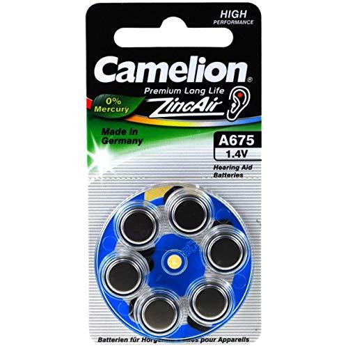 Camelion Hörgerätebatterie A675 ZL675 PR1154 AE675 V675AT DA675 PR44 6er Blister, Zink-Luft, 1,4V
