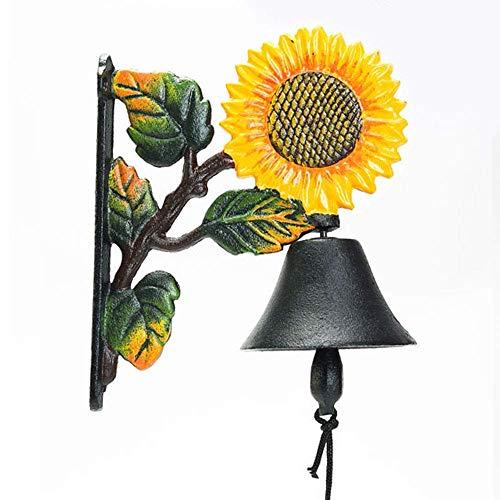 Sungmor Cloche murale en fonte robuste - Décoration murale peinte à la main - Sonnette de porte à secouer manuellement - Pour intérieur et extérieur - Décoration murale pour jardin et maison