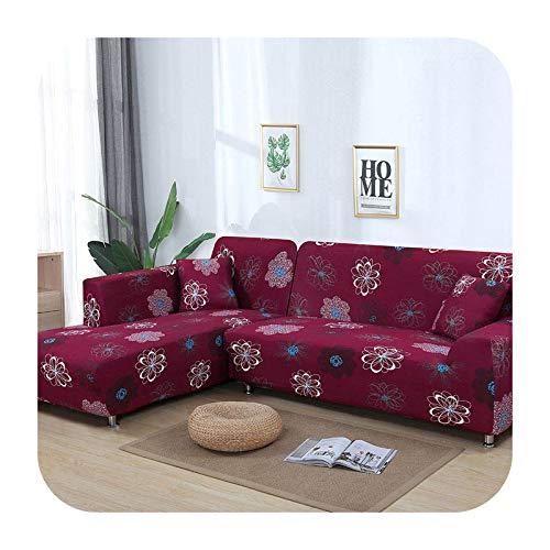 KASHINO Juego de funda de sofá nórdico de algodón, funda elástica para sofá para sala de estar, 2 piezas, para adaptarse a sofá chaise longue en forma de L, color 2-1 asiento, 90-140 cm