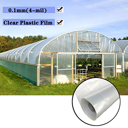 Tarpaulin LJIANW Greenhouse Clear Plastic Film Polyethylene Covering Help Plants Grow for Grow Tunnel Plant Cover, 24 Sizes (Color : Clear, Size : 2x4m)