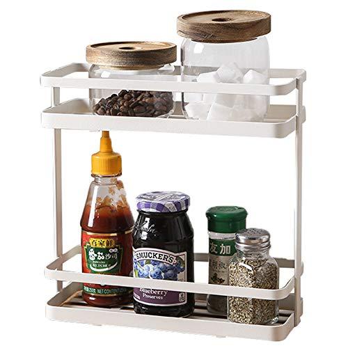 Especiero 2 Niveles Organizador Spice Rack Desmontables Estante Especias Multifunción Para Almacenamiento Baño Dormitorio Lavabo Cocina Superficie