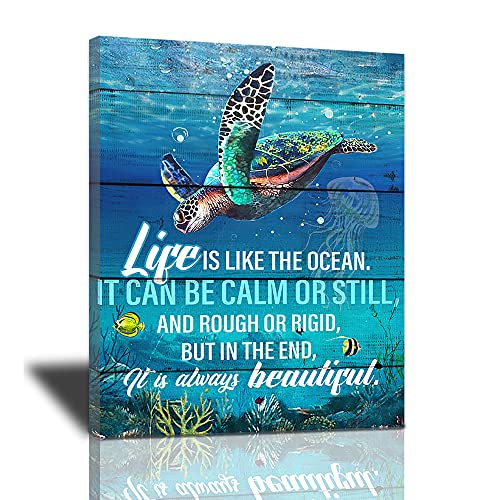 Sea Turtle Bathroom Decor Wall Art Beach Starfish Themed Ocean Teal Turtle Picture Canvas Print Nautical Decor Artwork Life Inspirational Quotes Painting Framed For Living Room Bedroom Office12x16inch