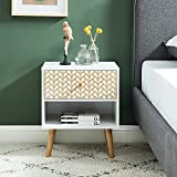 BAÏTA Table de Chevet, Blanc et chêne, L40cm
