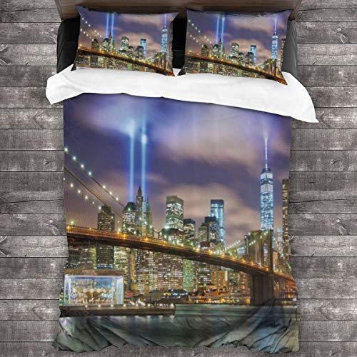 Duvet cover bedding Set,Manhattan Skyline With Brooklyn Bridge And Towers In Nyc United States America,3 Piece Set bedding with 2 pillowcases,Double(200 * 200cm)