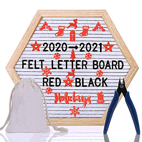 Letter Board - 12'' x 12'' White Hexagon Felt Letter Board with 340 Letters, Changeable Letter Board Word Board,Business Message Board, Letter Sign with Mounting Hook Canvas Bag + Cute Scissors 063WH