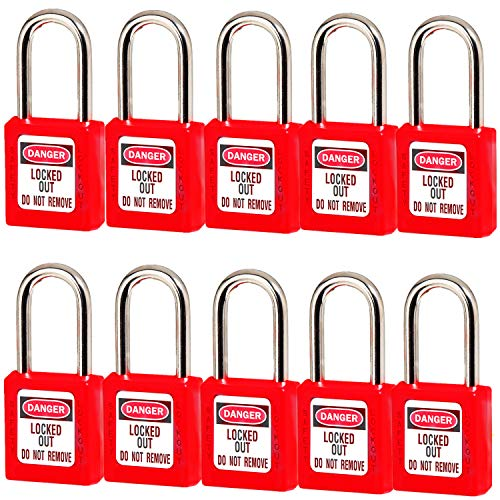 Lockout Tagout Locks, Safety Padlock, Keyed Differently Loto Safety Padlocks for Lock Out Tag Out ,10 PCS with Number (Red 1-10)