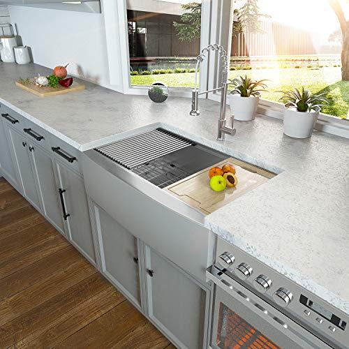30 Farmhouse Sink - Kichae 30 Inch Kitchen Sink Ledge Workstation Apron Front Single Bowl 18 Gauge Stainless Steel Kitchen Farm Sink