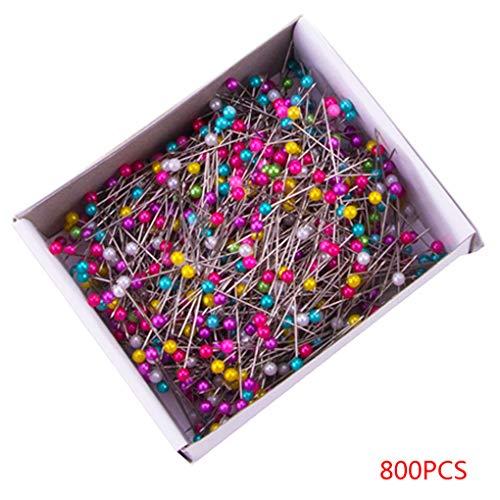 Guangcailun 800 Stück Multicolor Perlen-Korn-handgemachte Handarbeiten Nähen Crafts Kugelkopf Edelstahl-Stifte Box