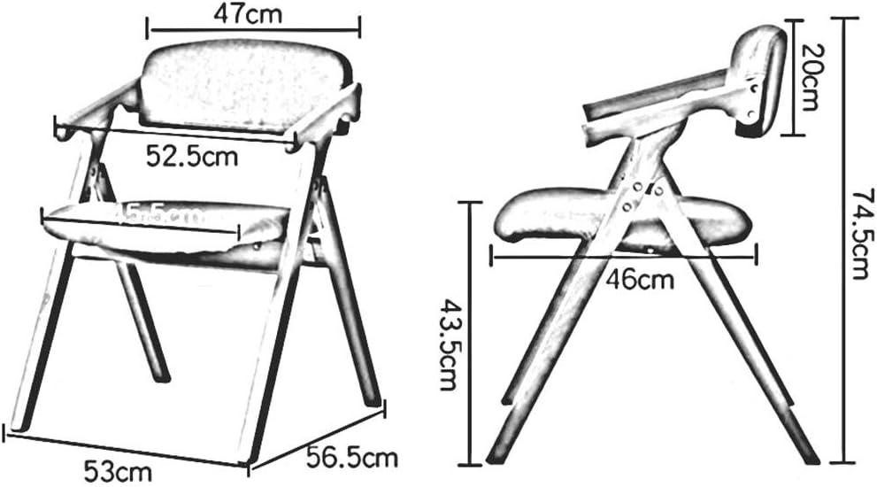DALL Chaise Pliante Cadre en Bois Chaises De Salle À Manger Housse en Lin Amovible Chaise De Table De Loisirs Économiser De l'espace 53x56,5x74,5 Cm (Color : Blue) Khaki