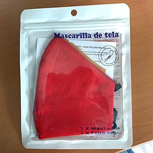 Cussi - Mascarilla de Tela Higiénica Reutilizable Homologada UNE 0065:20 y Certificada BFE 99%, Lavable hasta 20 ciclos-pack 2 mascarillas, estuche, filtros extra (ROJO, NEGRO)