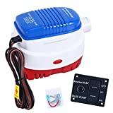 Amarine Made 12v 1100gph Automatic Submersible Boat Bilge Water Pump and Auto/Off/Man LED Rocker Bilge Pump Switch Panel & Circuit Breaker (1100gph Auto Pump & Control Switch Panel)