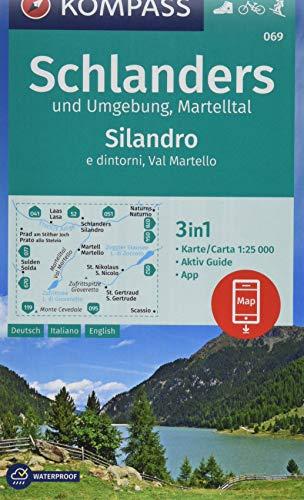 Carta escursionistica n. 069. Silandro e dintorni, Val Martello 1:25.000: 3in1 Wanderkarte 1:25000 mit Aktiv Guide inklusive Karte zur offline Verwendung in der KOMPASS-App. Fahrradfahren. Skitouren.
