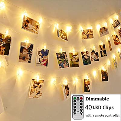 Greenclick LED Photo Clips String Lights, Photo Clips Holder 7.2 Feet, Warm White, Battery Powered, 8 Modes Remote Bedroom Christmas Decoration for Hanging Photos Pictures Cards etc.