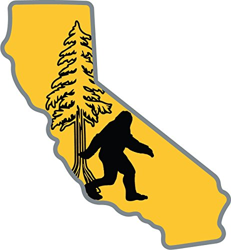California Bigfoot Sticker | State Shaped-Cut Glue-Back Label | Folklore Creature Legend | I believe hunting searching for Sasquatch Yeti | Use on Water Bottle Decal for Sign Toy Book Sock Hat Tshirt
