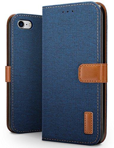 SLEO Hoesje voor iPhone 8 / iPhone 7 Hoes, Canvas Portemonnee Draagtas, Stoer Katoen Materiaal Beschermende Cover met Magnetische Sluiting voor iPhone 8/7 - Diep Blauw