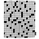Mugod Crossword Puzzle Throw Blanket Pastime Brainteaser Square Boxes Digital Game Soft Cozy Fuzzy Warm Flannel Blankets Decorative for Baby Toddler Swaddle Dog Cat 30X40 Inch