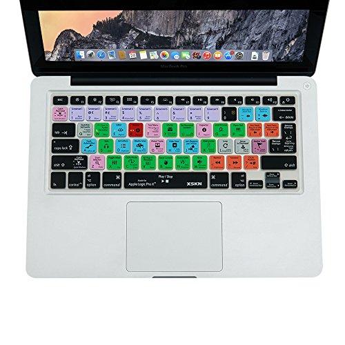 Cubierta de teclado XSKN para Logic Pro X 10 (inglés) Atajos Teclado de silicona Película protectora para el viejo MacBook Air Pro Retina 13