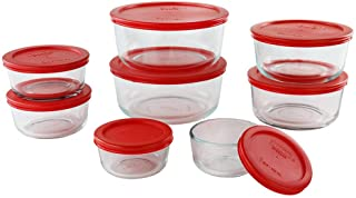 Pyrex Simply Store 1-cup Glass Food Storage 16-Piece Set Red 1126079