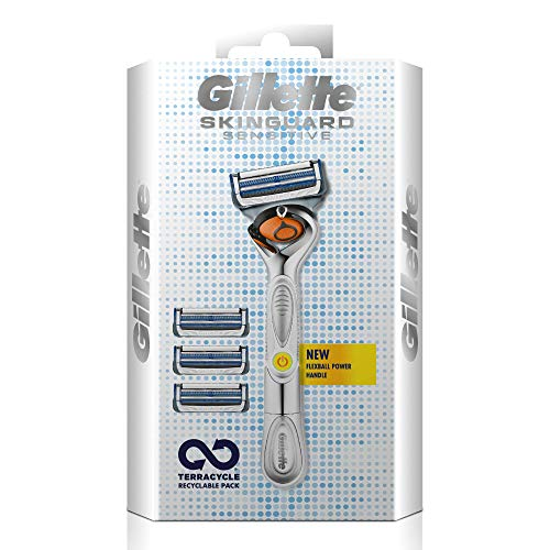 Gillette Skinguard Sensitive Flexball Rasierer mit Aloe Vera, 4 Klingen