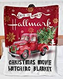 This is My Christmas Movie Watching Blanket , Personalized Christmas Blanket , Custom Name Red Truck Carrying Christmas Tree Sherpa Blanket