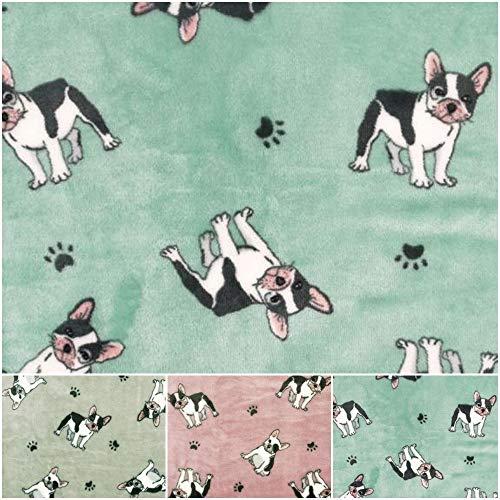 DIE NÄHZWERGE Superflausch Französische Bulldogge in 3 Farben - Meterware ab 50cm   Wellness-Fleece Softplüsch Microfleece, Tierdruck Hund Bullis (Mint)